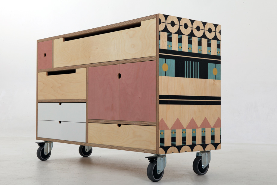 pattern furniture. Low Chest - Delicious Pink On Wheels Pattern Furniture